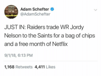 Wow: Adam Schefter  @AdamSchefter  JUST IN: Raiders trade WR Jordy  Nelson to the Saints for a bag of chips  and a free month of Netflix  9/1/18, 6:13 PM  1,168 Retweets 4,411 Likes Wow