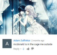 McDonald, Adam, and Months: Adam Zulfiekar 2 months ago  mcdonald is in the cage me outside  Reply 2