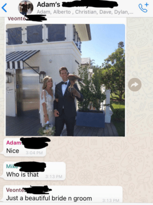 This beautiful bride and groom that my coworker saw at a job site and wanted to share with my work group chat.: Adam's  Adam, Alberto , Christian, Dave, Dylan,...  Veonte  Adam  Hi  Nice  3:04 PM  Mike  OoO  09:28  Who is that  3:13 PM  Veonte  Just a beautiful bride n groom  3:13 PM This beautiful bride and groom that my coworker saw at a job site and wanted to share with my work group chat.