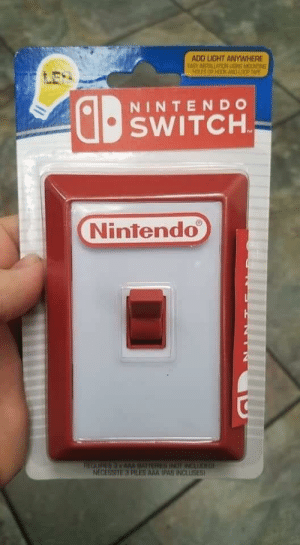 My kids are going to be so excited on Christmas: ADD LIGHT ANYWHERE  EASY INSTALLATION LISMS MOUNTING  HOLES OR HOOK AND LOO TAPE  NINTENDO  SWITCH.  Nintendo  THEOURESAMM IATTERU INOT INCAUOH L  NECESSITE 3 PLES AAA IPAS INCLUSES My kids are going to be so excited on Christmas