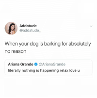 "Ariana Grande, Love, and Relatable: Addatude  @addatude_  When your dog is barking for absolutely  no reason  Ariana Grande@ArianaGrande  literally nothing is happening relax love u ""shhhh it's ok it was just a truck you dumbo!! love you tho"""