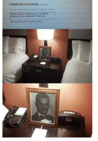 """Alfonso Ribeiro, Club, and Tumblr: Additional Comments (optional)  The hotel staff cannot guarantee additional requests  Piease place a framed picture of Alfonso  Ribeiro on the nightstand. Thank you.  You have 47 remaining characters. <p><a href=""""http://laughoutloud-club.tumblr.com/post/160063109639/nice-hotel"""" class=""""tumblr_blog"""">laughoutloud-club</a>:</p>  <blockquote><p>Nice hotel :)</p></blockquote>"""