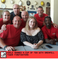 """Adele, Facebook, and Fire: ADELE SHARED A CUP OF TEA WITH GRENFELL  TOWER FIREFIGHTERS  NEWS Days after meeting victims at the site of the Grenfell Tower fire in London, Adele paid a visit to some of the firefighters who saved lives after the blaze broke out in the residential building. _ The London Fire Brigade tweeted photos of the singer sharing a cup of tea with their firefighters on Monday. Though the visit must have been emotional, one shot shows Adele cracking up while posing for the pic. _ On Facebook, one of the firefighters noted that Adele was """"wonderfully grounded and caring."""" Looks like she keeps her sense of humor in the midst of tragedy, too. _ by Sasha Geffen"""