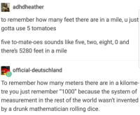 """Feet In A Mile: adhdheather  to remember how many feet there are in a mile, u just  gotta use 5 tomatoes  five to-mate-oes sounds like five, two, eight, 0 and  there's 5280 feet in a mile  official-deutschland  To remember how many meters there are in a kilome-  tre you just remember """"1000"""" because the system of  measurement in the rest of the world wasn't invented  by a drunk mathematician rolling dice."""