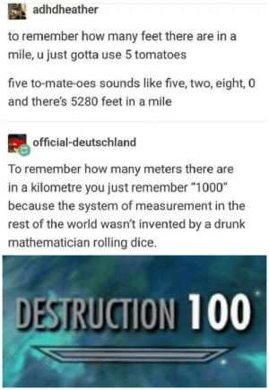 "Dank, Drunk, and Friends: adhdheather  to remember how many feet there are in a  mile, u just gotta use 5 tomatoes  five to-mate-oes sounds like five, two, eight, 0  and there's 5280 feet in a mile  official-deutschland  To remember how many meters there are  in a kilometre you just remember ""1000""  because the system of measurement in the  rest of the world wasn't invented by a drunk  mathematician rolling dice.  DESTRUCTION 100 Sorry american friends by SenseOfficial MORE MEMES"