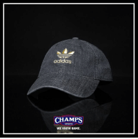@adidasoriginals keeps it fresh in black denim with their new dad hat! Available now at Champs!: adidas  CHAMPS  SPORTS  WE KNOW GAME. @adidasoriginals keeps it fresh in black denim with their new dad hat! Available now at Champs!