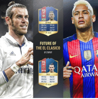 Left or right? Double tap your pick and comment below! Last comment is the winner! bale neymar 😍(via @z10fut): adidas  NEYMAR  96 PAC 99 DRI  91 SHO  36 DEF  85 PAS  64, PHY  A BASIC  FUTURE OF  THE EL CLASICO  BY Z10FUT  95  RW  BALE  99 PAC  92 DRI  93 SHO 64 DEF  91 PAS  82 PHY  A BASIC  FIF  015  AIRWA Left or right? Double tap your pick and comment below! Last comment is the winner! bale neymar 😍(via @z10fut)