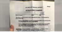 School, Net, and Student: ADM 403  HILLIARD CTY SCHOOL DISTRICT  NOTICE OF INTENT TO SUSPEND  /2  Name of student  Grade  This notice is to tel you that you may be suspended from school. To be suspended from  school means thet  During an Qut-of School suspenslon, Yoy A net permitted to be on school grounde,  or to attond classes or any extreourlcular activitieo.  yot are to come to school, but you may nok aftend  During an In-School suspenalon,  your reguiar olsses, or extracunicular activiles. You will opend the suspenslon  parlod In the in-School Suspension Room  may