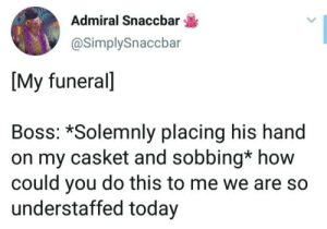 Today, How, and Boss: Admiral Snaccbar  @SimplySnaccbar  [My funeral]  Boss: *Solemnly placing his hand  on my casket and sobbing* how  could you do this to me we are so  understaffed today
