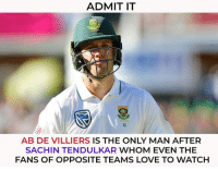 AB de Villiers is one of the most loved cricketers.: ADMIT IT  61  AB DE VILLIERS IS THE ONLY MAN AFTER  SACHIN TENDULKAR WHOM EVEN THE  FANS OF OPPOSITE TEAMS LOVE TO WATCH AB de Villiers is one of the most loved cricketers.