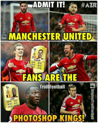 Admit it! @instatroll.soccer: ADMIT IT.  #AZR  CHEVROLET  MANCHESTER UNITED  88  GRIEZMANN  86 PAC 87 ORI  85  S80 30 DEF  PAS 67 PHY  CHEVROLET  FANS ARE THE  Troll Roothall  84  LUKAKU  82 PAC 74 DRI  82 SHO 34 DEF  66 PAS 84  PHOTOSHOP KINGS! Admit it! @instatroll.soccer