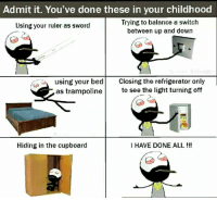 Memes, Refrigerator, and Ruler: Admit it. You've done these in your childhood  Trying to balance a switch  between up and down  Using your ruler as sword  using your bed Closing the refrigerator only  as trampoline to see the light turning off  Hiding in the cupboard  I HAVE DONE ALL !!!