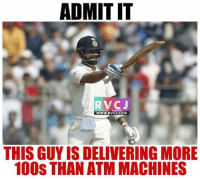 Memes, 🤖, and Virat Kohli: ADMITIT  RV CJ  WWW, RVCJ.COM  THIS GUYIS DELIVERING MORE  100S THAN ATM MACHINES Virat Kohli!