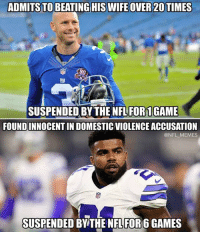 Roger Goodell logic...: ADMITS TO BEATING HIS WIFE OVER 20 TIMES  90  SUSPENDED BY THE NFL FOR1GAME  FOUNDINNOCENT IN DOMESTIC VIOLENCE ACCUSATION  @NFL MEMES  SUSPENDED BY THE NFL FOR 6 GAMES Roger Goodell logic...