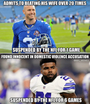 NFL Memes - Funniest NFL Memes on the Internet [2018]: ADMITS TO BEATINGHIS WIFEOVER20TIMES  90  1925.  SUSPENDED BY THE NFL FOR 1GAME  FOUNDINNOCENT IN DOMESTIC VIOLENCE ACCUSATION  @NFL_MEMES  SUSPENDED BY THE NFLFOR6 GAMES NFL Memes - Funniest NFL Memes on the Internet [2018]