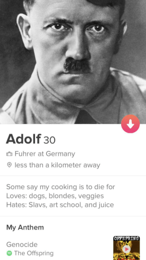 Wish me luck: Adolf 30  Fuhrer at Germany  less than a kilometer away  Some say my cooking is to die for  Loves: dogs, blondes, veggies  Hates: Slavs, art school, and juice  My Anthem  OFFS PRING  Genocide  The Offspring Wish me luck