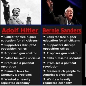 Bernie Sanders, Shit, and Control: Adolf Hitler Bernie Sanders  Called for free higher  Calls for free higher  education for all citizens  education for all citizens  Supporters disrupted  opposition rallies  Supporters disrupt  opposition rallies  Proposed gun control  Called himself a socialist  Proposes gun control  Calls himself a socialist  Promises a political  Promised a political  revolution  revolution  Blamed Jews for  Germany's problems  Blames Rich people for  America's problems  Wants a heavily  regulated economy  Wanted a heavily  regulated economy Buddy on FB is a goldmine for shit like this.