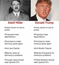 """This is America ppl, I call it """"Hell's Heaven."""": Adolf Hitler  .Used racism to rise to  power  .Proposed mass  deportations  Promised to make  Germany great again  .Anti-Jew Fascist  .Blames Jews for  Germany's problems  Thought Jews should  wear special ID's  Donald Trump  .Uses racism to rise to  power  Proposes mass  deportations  .Promises to make  America great again  .Anti-Muslim Fascist  .Blames Immigrants for  America's problems  Thinks Muslims should  wear special ID's This is America ppl, I call it """"Hell's Heaven."""""""