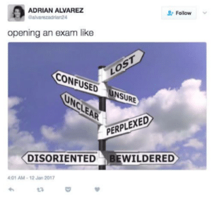 Confused, Tumblr, and Http: ADRIAN ALVAREZ  Calvarezadrian24  Follow  opening an exam like  CONFUSED  UNSURE  PERPLEXED  DISORIENTED BEWILDERED  4:01 AM-12 Jan 2017  t3 If you are a student Follow @studentlifeproblems​