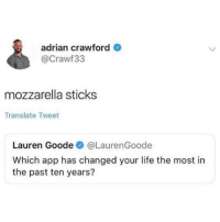 Groundbreaking app @crawf33: adrian crawford  @Crawf33  mozzarella sticks  Translate Tweet  Lauren Goode@LaurenGoode  Which app has changed your life the most in  the past ten years? Groundbreaking app @crawf33