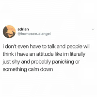 Not me: adrian  @homosexualangel  i don't even have to talk and people will  think i have an attitude like im literally  just shy and probably panicking or  something calm down Not me