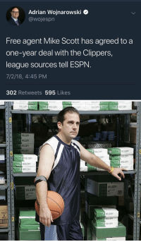 Basketball, Espn, and White People: Adrian Wojnarowski <  @wojespr  Free agent Mike Scott has agreed to a  one-year deal with the Clippers,  league sources tell ESPN  7/2/18, 4:45 PM  302 Retweets 595 Likes   WILLCOPY  WILLDOPY  COPY  WILLCOPY  WILLCOPY  WILLDOPY  WILLCOPY  WILLDOPY  WILLCOPY  WILLCOPY  WILLCOPY  COPY  WILLCOPY  WILLCOPY  WILLDOPY  WILLCOPY  WIL OOPY  WILLCOPY  WILLCOPY  WILLCOPY  POLYS  WILLCOPY https://t.co/ffKMppKlVb