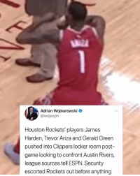 Smh 😂 nba nbamemes houston clippers: Adrian Wojnarowski  @wojespn  Houston Rockets' players James  Harden, Trevor Ariza and Gerald Green  pushed into Clippers locker room post  game looking to confront Austin Rivers,  league sources tell ESPN. Security  escorted Rockets out before anything Smh 😂 nba nbamemes houston clippers