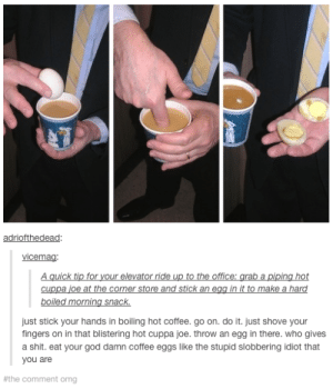 Truly disgustingomg-humor.tumblr.com: adriofthedead:  vicemag:  A quick tip for your elevator ride up to the office: grab a piping hot  cuppa joe at the corner store and stick an egg in it to make a hard  boiled morning snack.  just stick your hands in boiling hot coffee. go on. do it. just shove your  fingers on in that blistering hot cuppa joe. throw an egg in there. who gives  a shit. eat your god damn coffee eggs like the stupid slobbering idiot that  you are  #the comment omg Truly disgustingomg-humor.tumblr.com