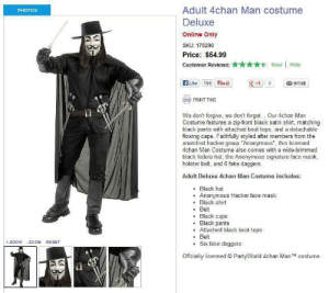 """black pants: Adult 4chan Man costume  Deluxe  Online Only  SKU: 175290  Price: $54.99  Customer Reviews:Read 