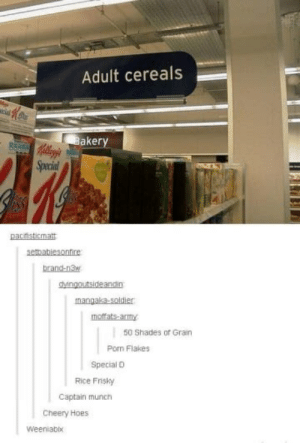 Hoes, Puns, and Army: Adult cereals  aker  Specia  pacfisticmat  setbabiesontire  brand-n3  Mngoutsideandin  mangaka-soldier  moffats-armY  50 Shades of Grain  Pon Flakes  Special D  Rice Fisky  Captain munth  Cheery Hoes  Weeniabix The cereal puns.