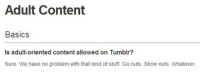 "Tumblr, Blog, and Http: Adult Content  Basics  Is adult-oriented content allowed on Tumblr?  Sure. We have no problem with that kind of stuff. Go nuts. Show nuts. Whatever. mudaship39: ontarom: Does anybody remember this ""go nuts, show nuts, whatever"" gem? Oh how the mighty have fallen. You either die a hero or live long enough to see yourself become a villain"