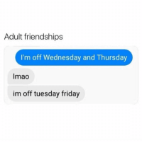 Friday, Funny, and Memes: Adult friendships  I'm off Wednesday and Thursday  Imao  im off tuesday friday SarcasmOnly
