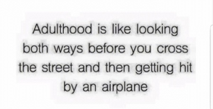 Cross The Street: Adulthood is like looking  both ways before you cross  the street and then getting hit  by an airplane