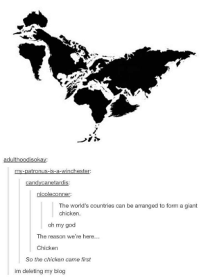 God, Oh My God, and Blog: adulthoodisokay:  my-patronus-is-a-winchester  candycanetardis  nicoleconner:  The world's countries can be arranged to form a giant  chicken.  oh my god  The reason we're here...  Chicken  So the chicken came first  im deleting my blog Now if only we could figure out why it crossed the road
