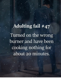 Adulting: Adulting fail #47  Turned on the wrong  burner and have been  cooking nothing for  about 20 minutes.