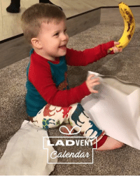 Christmas, Dank, and Banana: ADVEN This little lad was so happy with the banana he got for Christmas 😂🍌