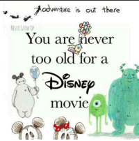 Memes, Movie, and Old: adventure is out there  NEVER GROW UP  You are never  too old for a . .  ISNEO  movie