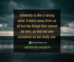 Arthur, Okay, and Quotes: Adversity is like a strong  wind. It tears away from us  all but the things that cannot  be torn, so that we see  ourselves as we really are.  SayingImages.com  ARTHUR GOLDEN 30 Hardships Quotes: Why It's Okay to Not Have It Easy #sayingimages #hardshipsquotes #hardshipsquote #hardships