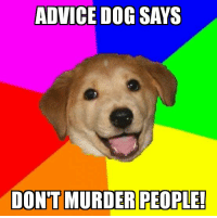 Advice, Advice Dog, and Dog: ADVICE DOG SAYS  DONTMURDER PEOPLE!
