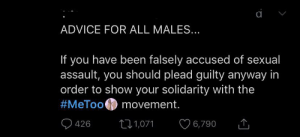 Advice, Tumblr, and Been: ADVICE FOR ALL MALES...  If you have been falsely accused of sexual  assault, you should plead guilty anyway in  order to show your solidarity with the  #MeToo movement.  6,790  426  L1,071 yikes