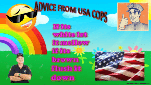 a racist meme i made in about 10 mins: ADVICE FROM USA COPS  If its  white let  it mellow  if its  brown  flush it  down  freehdwallpapersin blogspot.com a racist meme i made in about 10 mins