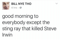 Dank, Aes, and Ray: AE BILL NYE THO  4 hrs.  good morning to  everybody except the  sting ray that killed Steve  Irwin