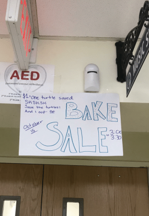 Come save the turtles: AED  (automated external defibrillator)  lo  1st FLOOR BY  2nd FLOOR BY AUDITO  $1 one turtle saved  SHSHSK  Save the turtles!  And oop-  2ND FLOOR  BAKE  SALE  October  3:O0  3:30  to Come save the turtles