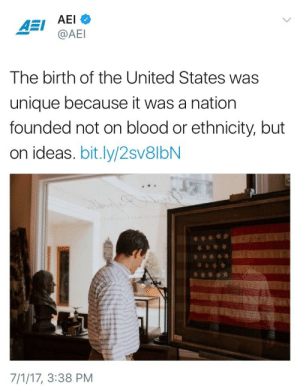 onlyblackgirl: weavemama:  …it was literally founded on genocide and slavery but k : AEI  @AE  The birth of the United States was  unique because it was a nation  founded not on blood or ethnicity, but  on ideas. bit.ly/2sv8lbN  7/1/17, 3:38 PM onlyblackgirl: weavemama:  …it was literally founded on genocide and slavery but k