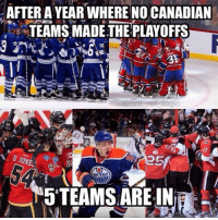Finals, Memes, and Canadian: AETER A YEAR WHERE NO CANADIAN  TEAMS MADETHE PLAYOFFS  16  25  5 TEAMS ARE IN You think the Cup will go to a Canadian team this year? I honestly think these teams will all be gone come Conference Finals except maybe Edmonton