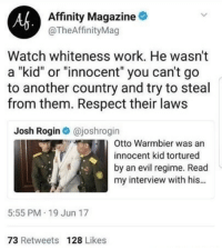 "Af, Bad, and Bigfoot: Af  Affinity Magazine  @TheAffinityMag  Watch whiteness work. He wasn't  a ""kid"" or ""innocent"" you can't go  to another country and try to steal  from them. Respect their law:s  Josh Rogin @joshrogin  Otto Warmbier was an  innocent kid tortured  by an evil regime. Read  my interview with his...  5:55 PM 19 Jun 17  73 Retweets 128 Likes <p><a href=""http://arizonaconservativegal.tumblr.com/post/162290128718/matt-ruins-feminisms-shit-leader-of-datlof"" class=""tumblr_blog"">arizonaconservativegal</a>:</p>  <blockquote><p><a href=""http://matt-ruins-feminisms-shit.tumblr.com/post/162096179266/leader-of-datlof-reminder-that-this-is-what-the"" class=""tumblr_blog"">matt-ruins-feminisms-shit</a>:</p>  <blockquote><p><a href=""http://leader-of-datlof.tumblr.com/post/162087510746/reminder-that-this-is-what-the-liberal-media-says"" class=""tumblr_blog"">leader-of-datlof</a>:</p><blockquote><p>Reminder that this is what the liberal media says when a white American kid is killed by a foreign government for ""allegedly stealing"" a poster based on a video with quality equivalent of the original Bigfoot video and a ""confession.""</p></blockquote> <p>Murdered via brutal hard labour by a tyrannical government for taking down a poster…clearly a case of white privilege.</p></blockquote>  <p>""Well we obviously can't blame the North Koreans because that might suggest that communism isn't fabulous and it might give the illusion that POCs can do bad things, so how can we spin this? Oh! He was a straight, white, male? That's perfect! We'll just talk about how he was clearly evil because of Privilege ™.""</p></blockquote>"