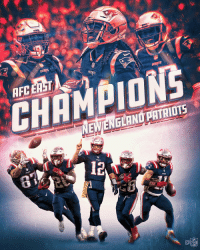 England, Memes, and New England Patriots: AFC ERST  CHEMPIONS  NEW/ENGLAND PATRIOTS  6  12  CO  NFL 10th straight AFC East title for the @Patriots! #GoPats https://t.co/C66vkNUyE3