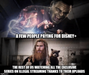 Disney, All The, and Rest: AFEW PEOPLE PAYING FOR DISNEY+  THE REST OF US WATCHING ALL THE EXCLUSIVE  SERIES ON ILLEGAL STREAMING THANKS TO THEIRUPLOADS  imgflip.com The tile