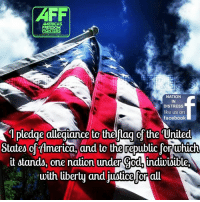 Good morning Patriots and God Bless!: AFF  AMERICAS  FREEDOM  FIGHTERS  america freedom  NATION  IN  DISTRESS  like us on  facebook  1 pledge allegiance to thelflag ofthe United  States of timerica, and to the republic forwhich  it stands, one nation under Cod indiwiMible,  with liberty and juutice for all Good morning Patriots and God Bless!