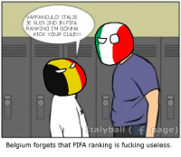 Belgium, Dank, and Fifa: AFFANCULO  ITALIE  JE SUIS 2ND IN FIFA  RANKING I'M GONNA  KICK YOUR CULE!!!  taly ball f age  Belgium forgets that FIFA ranking is fucking useless. Oh yeah right right I need to do EURO 2016 posts! Even tho I'm kinda late, oh well. Enjoy the pic -Ciocia